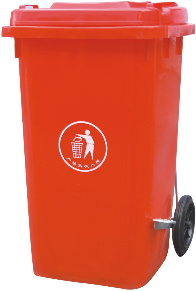 100L Middle size bin dustbins trash can with cover and wheels