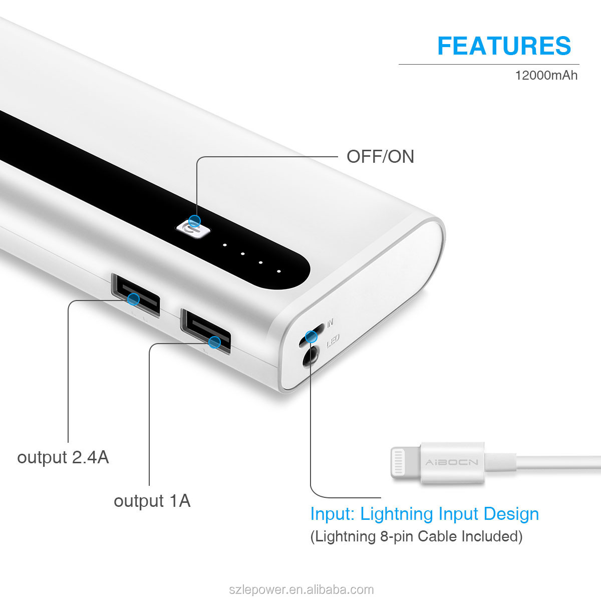 Aibocn Upgraded high capacity 12000mAh External Battery Portable Charger Power Bank