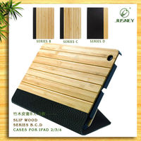 2014 hot selling for ipad 360 case with bamboo and pu
