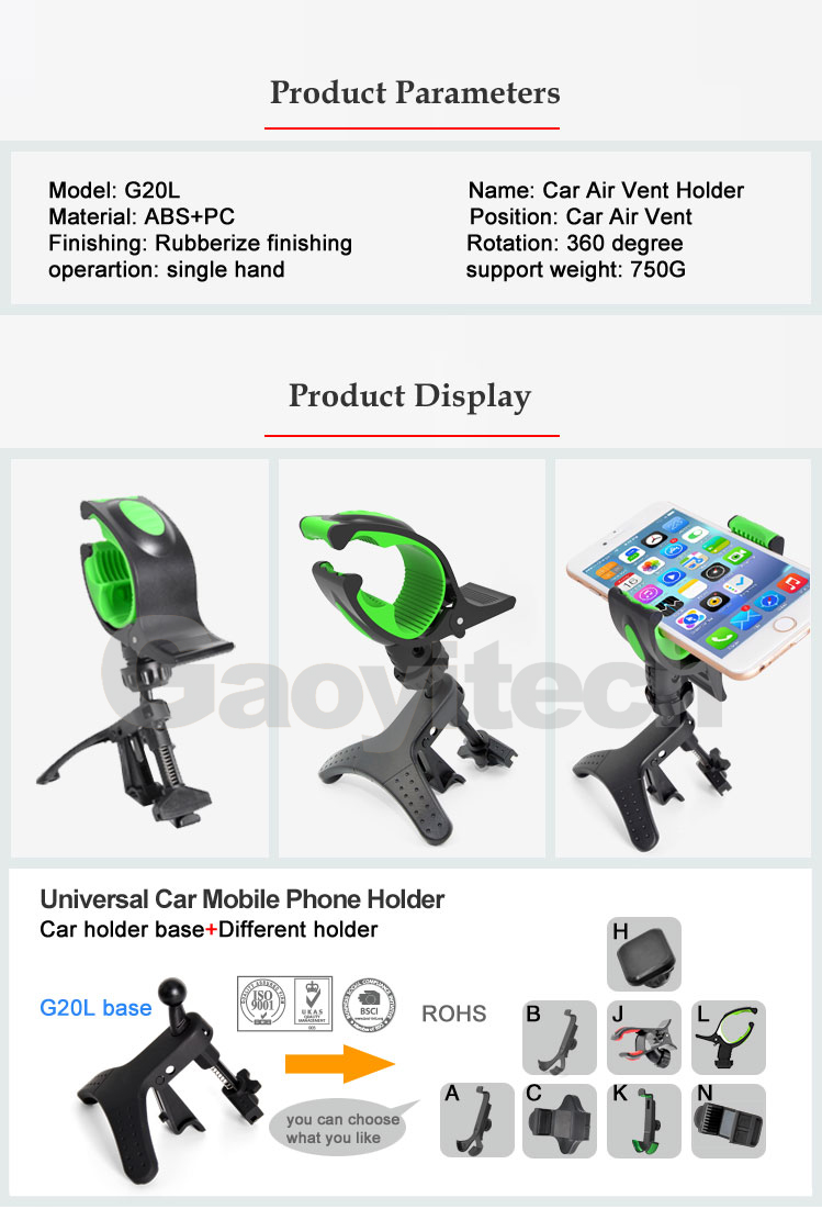 3.5-6.3 Inch Screen Universal Car Cell Phone Holder 360 Degree Rotation