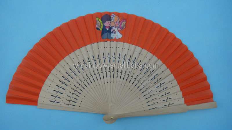 Spanish folding hand fan with wooden ribs