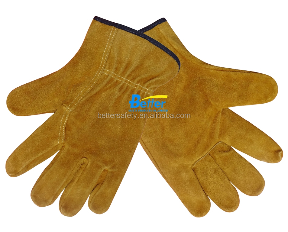 industrial Mens Short Yellow Cow Split Leather Driving Hand Gloves