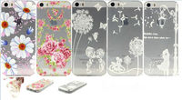 Ultra-thin tpu cover case back case for iphone 5G 5S flower design