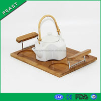 Bamboo Traditional Chinese Tea cup holder tray with Binaural handles