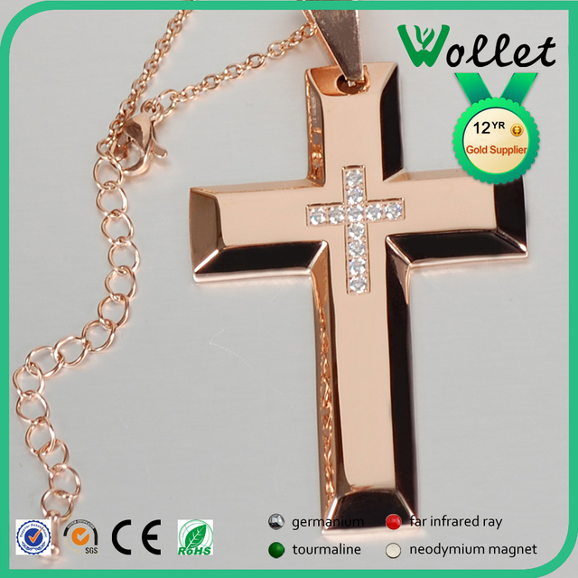 Fashion Wholesale Gold Plated Cheap Stainless Steel Large Men's Cross Pendant