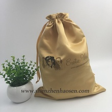 Wholesale Thick Matt Gold Color Satin Drawstring Bag For Hair