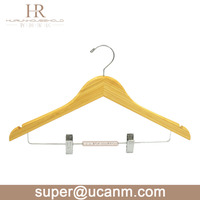 HRB-661BN Bamboo cloth clothes clothing suit laundry coat shirt trouser garment huggable hanger stand with clips
