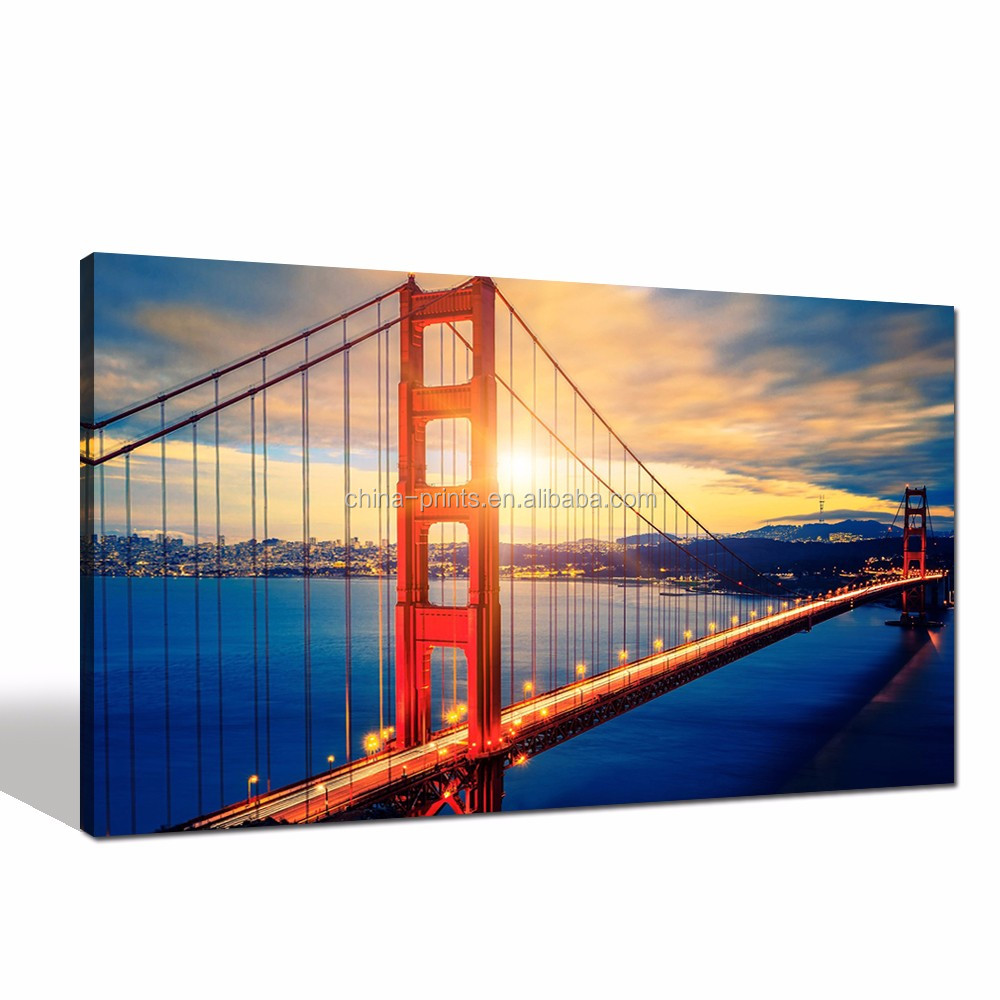 New York Cityscape Picture Digital Print on Canvas UAS Golden Gate Bridge Canvas Wall <strong>Art</strong> for Home Decoration