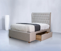 Modern Wheat Linen Two Drawers Latest Double Bed Design for Bedroom KJ1501