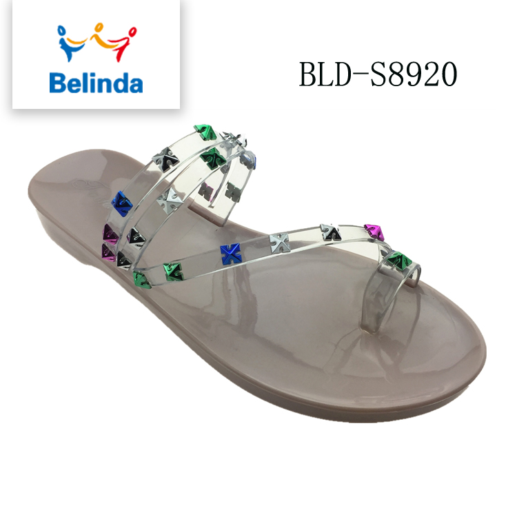 china factory pvc flat toe ring slide sandals jelly pvc strap in latest design
