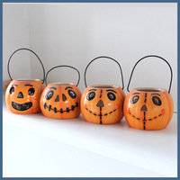 Funny small ceramic pumpkin candle holder for halloween