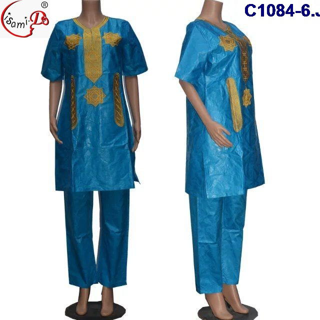 C1084-6 2017 New arrival bazin riche blue 3XL african bazin embroidery design dress