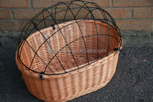 Wicker Bicycle Pet Travaler Carrier B asket Front Bike with Wire Lid