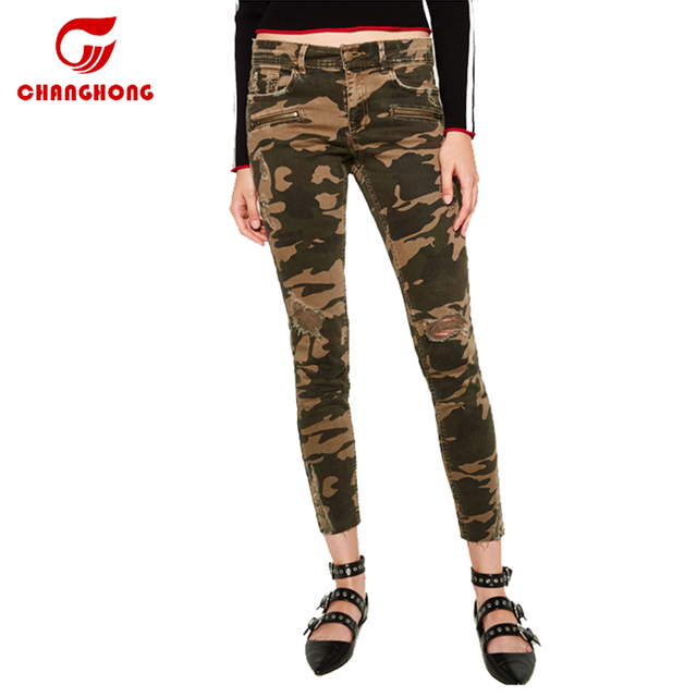 2018 Hot Sale Ripped Jeans Women Casual Camouflage Women's Military Style Cargo Pants