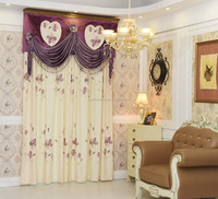 european style luxury decoration fancy floral printed bedroom curtain drapes