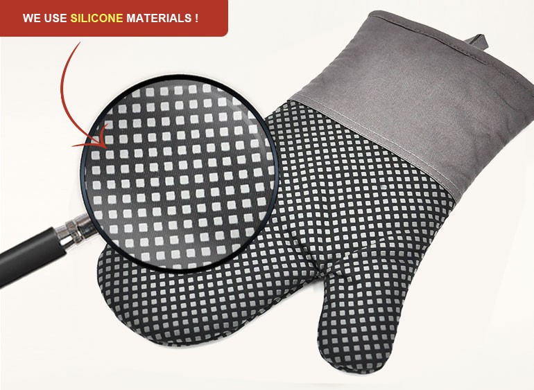 Super heat resistant BBQ grill print silicone cotton mitts oven glove for kitchen