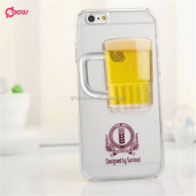 Newest Popular Wine Glass Cocktail Bottle Beer Back Case Cover 3D Liquid Phone Case For Iphone 6 Case,smartphone