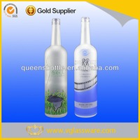100cl frosted and decal printed vodka glass bottle