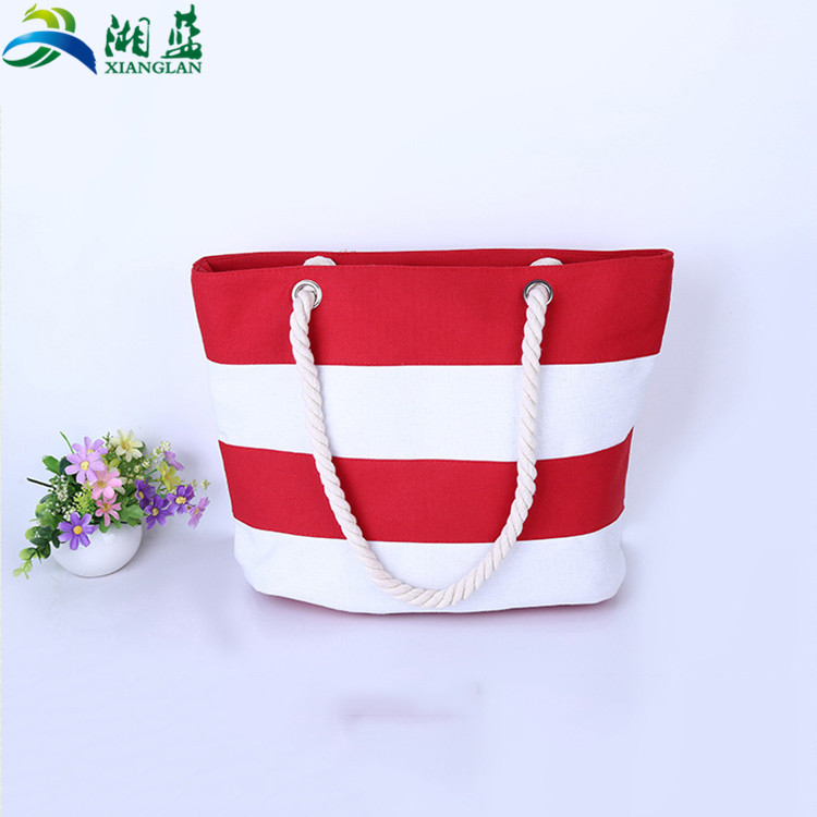 Red white canvas rope handle beach bag stripe canvas beach <strong>tote</strong> bag