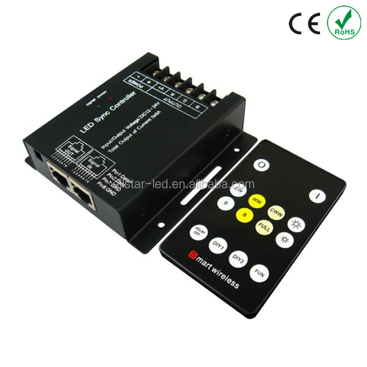 RF Remote Controller CCT Adjustment led Control WW/CW LED Light Strip Color Tenperature Dimmer Controller DC12-24V 2CH 8A each