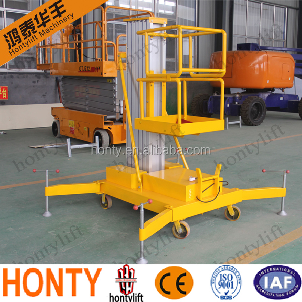 pneumatic motorcycle aluminum platform lift / one man telescopic lift