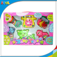 A40637 Popular Baby Toys 6PCS Plastic Baby Bell Rattle