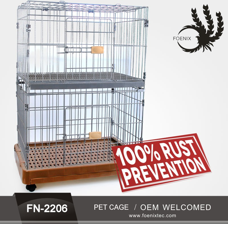 Trade Assurance Powder Coated Foldable Dog Crate Pet Cage Iron Foldable Pet Crate