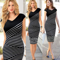 2015 new fashional style hot sale short black+white sleeve pencil dress