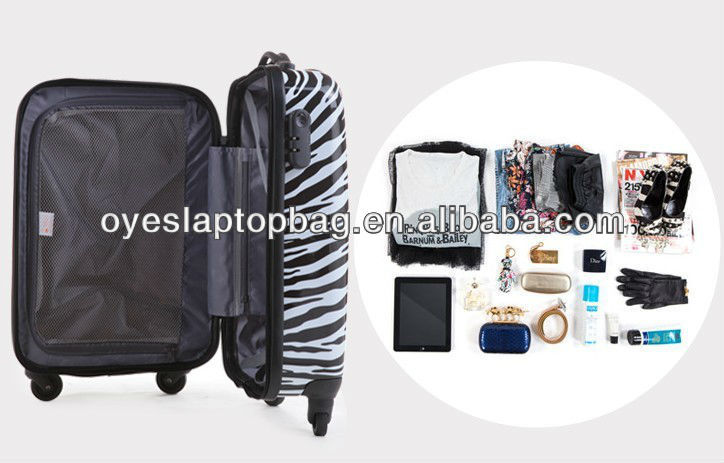 "20"" 24"" 28"" lightweight abs/pc luggage zebra luggage bags cases"