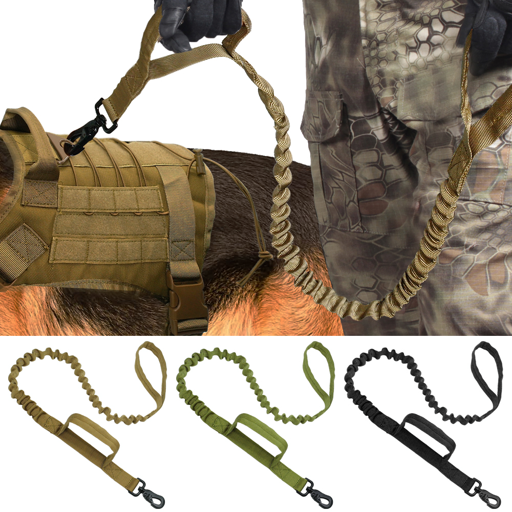 Tactical dog training leash elastic bungee canine military army dog leads belt bungee