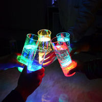 China Made led flashing colorful plastic long drinking glass