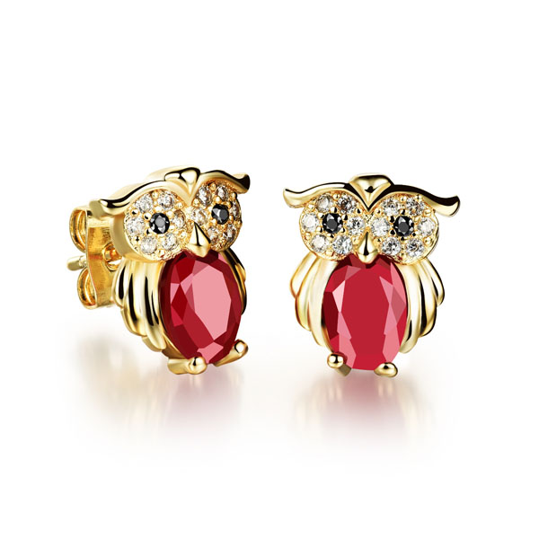 Stainless Steel Gold Plated Earing Crysal Owl Earing for Women