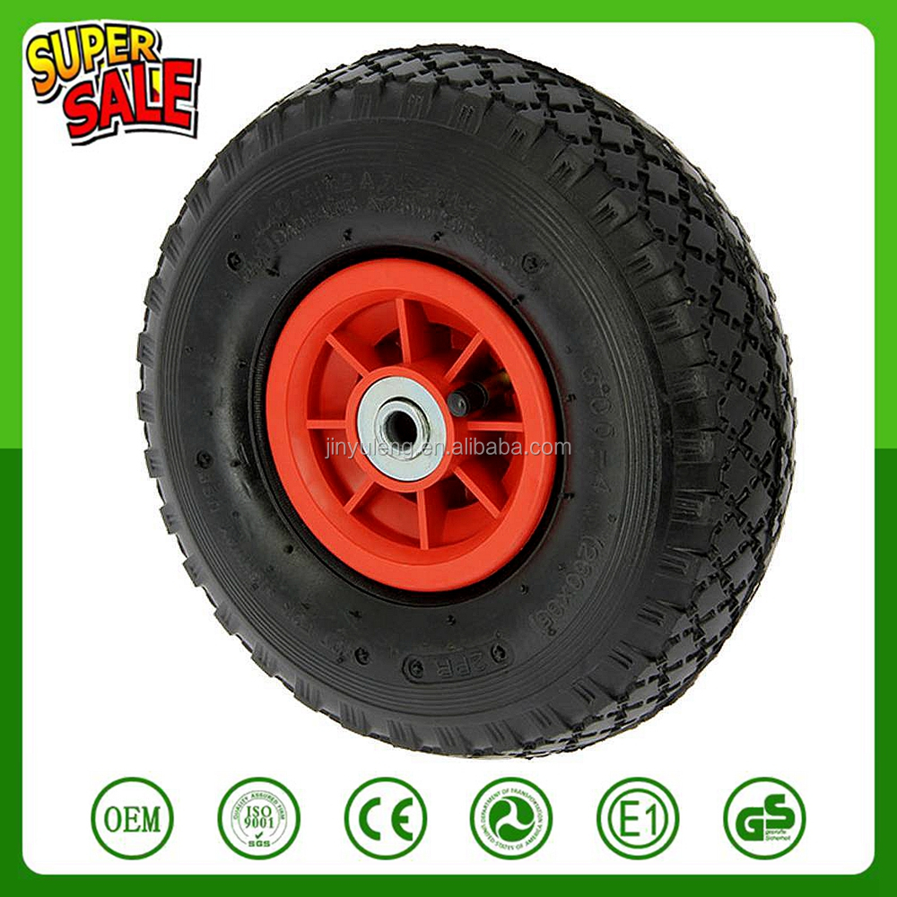 10 inch 4.10/3.50-4 plastic rim Pneumatic air rubber wheel for beach cart trolley wagon toy car caster trailer barrow hand truck