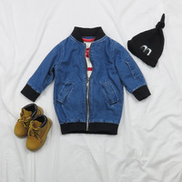 wholesale new 2016 European and American fashion boys and girls long-sleeved denim jacket