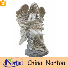 Sitting stone guardian angel and bird figure memorial NTMS-R015Y