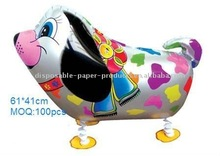 walking siver color dog ballon