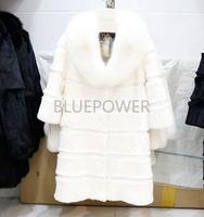 Women long big fox collar rex rabbit fur coat TD2221
