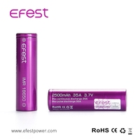 Hot sale rechargeable efest 2500mah 18650 3.7v li-ion battery 18650 battery specs/18650 large capacity battery e-cigarette