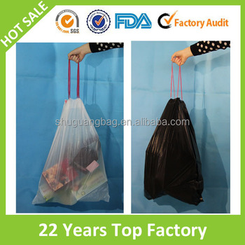Cheap garbage packaging plastic car drawstring trash bag with high quality