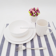 Sublimation fashion microwave fine design ceramic white dinnerware sets for gift