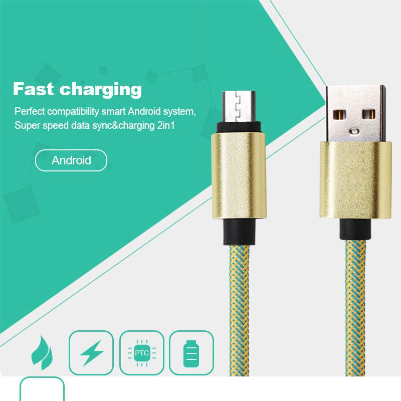 Double Sided 100cm Nylon Braid USB Cable Fast Charging High Speed Data Cable