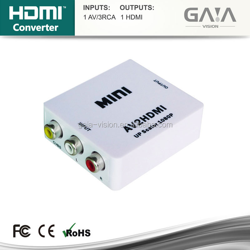 Mini RCA/CVBS/AV to HDMI Video Converter Adapter For HD TV