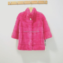 Factory High Quality Pink Color Real Mink Fur Coat For girls