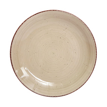 Restaurant breakfast rainbow tableware round ceramic handpainted party <strong>plate</strong> with Brown rim