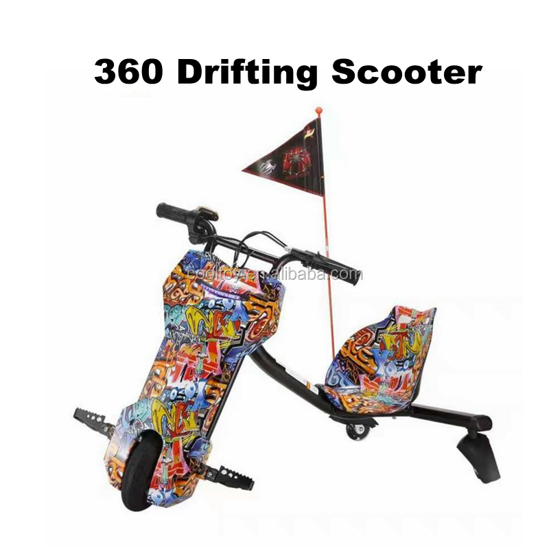 COOLTOY Motorized Drift Scooter Balance Scooter 3 Wheels Power Rider 360 Drift Trike for Kids