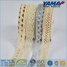 Wholesale OEM design ivory color metallic braided decorative lace trim