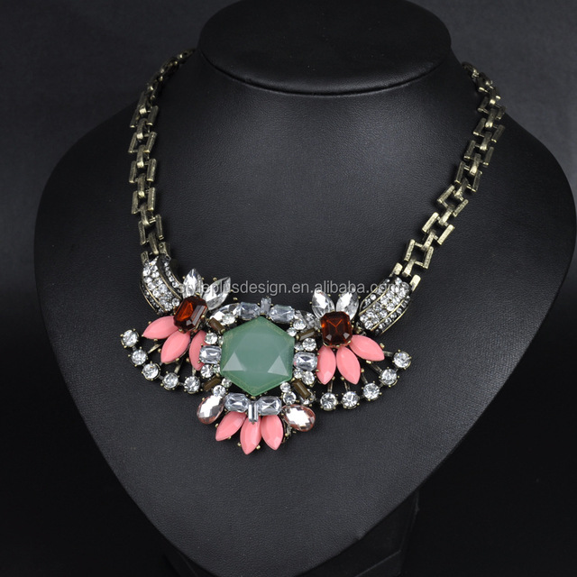 FC859 2017 new exaggerating luxury necklace colorful flowers crystal necklace jeans accessory chain