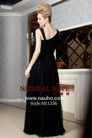 Glamorous Straps Lace Black and Tulle High Quality Sequins Lace Fabric Evening Beaded Dresses