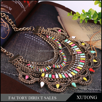 2015 Hot choker pendant royal multicolor plastic diamond fashion gold plated Indian kundan traditional hardwork jewelry necklace