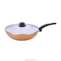 forged aluminum 2pcs set ceramic coating wok with glass lid